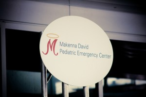 Makenna David Pediatric Emergency Center signage. Photo courtesy of Amber Schmidt.